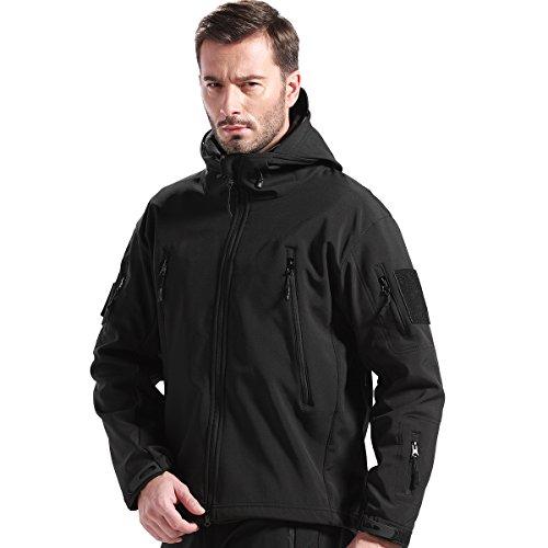FREE SOLDIER Outdoor Herren Softshell Jacke für Camping Klettern Wandern Instant Wasserdichte Mantel (Schwarz,XXXL)