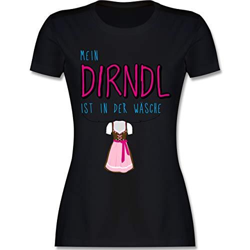 Oktoberfest Damen - Mein Dirndl ist in der Wäsche - XL - Schwarz - L191 - Damen Tshirt und Frauen T-Shirt