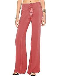 YuanDian Mujer Verano Color Sólido Casual Cordón Baggy Pantalones Palazzo Fluidos Anchos Campana Pata Ancha Elefante Pantalones Baggy Cintura Baja