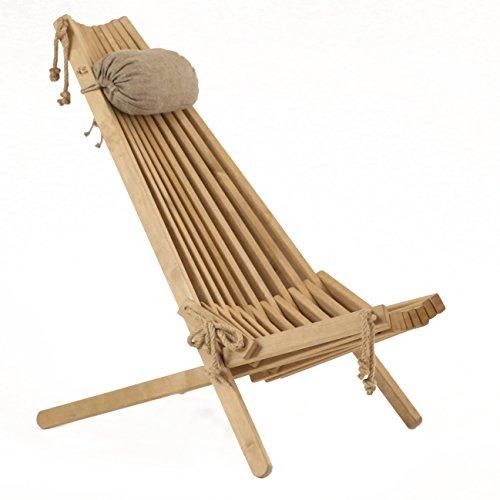 Jardinion Design Holz-Stuhl Relax-Liege Veikko, Birke, Braun, Klapp-Sitz Verstellbar Öko...