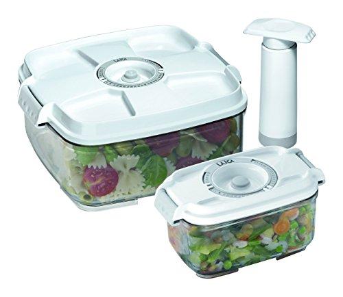 Laica fresco più vt3303 set due contenitori sottovuoto per alimenti, manuali, 0.5 l e 2 l,  bianco/trasparente