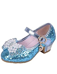 BULUTO Girl Shoes Girls Glass Slipper Princess Crystal Shoes Soft Bottom Dress shoes Leather Princess Shoes Performance shoes Sandal Shoes , blue , us10 / eu27 / uk9 toddle