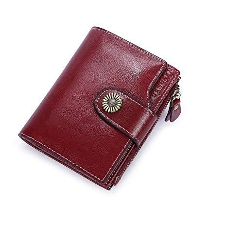 Vintage Damen Geldbörse Klein Portemonnaie Leder Frauen Geldbeutel mit Reißverschluss und RFID Schutz - Burgund Rot (Damen Kleine Portemonnaie Rote)