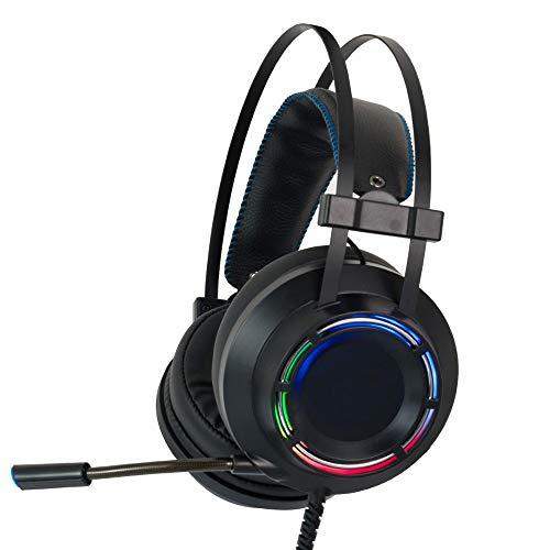 MHOLR Gaming Headset 7.1 Kopfhörer Rund Um RGB-Licht Und Mikrofon Für Das PC-Headset Von Xbox One Professional Gamer