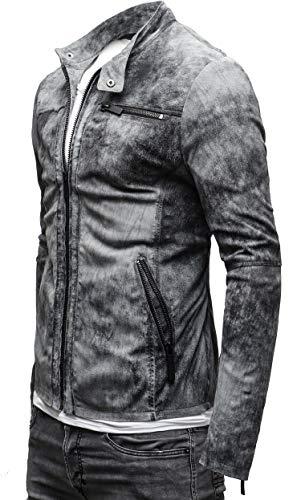 CRONE Epic Herren Lederjacke Cleane Leichte Basic Jacke aus weichem Schafs-Leder (L, Vintage Grau (Wildleder)) - 2