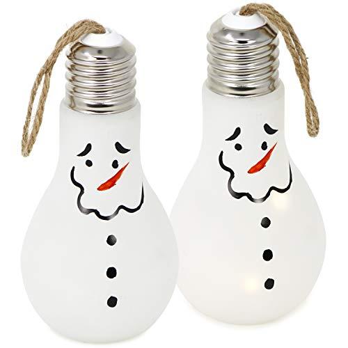 com-four® 2X Deko Glas-Glühbirne mit 6 LEDs, batteriebetriebener LED Schneemann, kabellose Tisch-Leuchte für Weihnachten, 18 x 9 cm (02 Stück - Glühbirne Schneemann) -