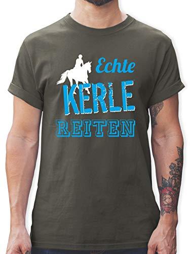 Reitsport - Echte Kerle reiten - L - Dunkelgrau - L190 - Tshirt Herren und Männer T-Shirts