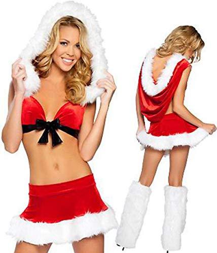 FAFY Weihnachten Weihnachten Frauen Sexy Santa Claus Festival Cosplay Kostüme Weibliche Pure Red Rock Halloween Uniform Für Erwachsene, One Size