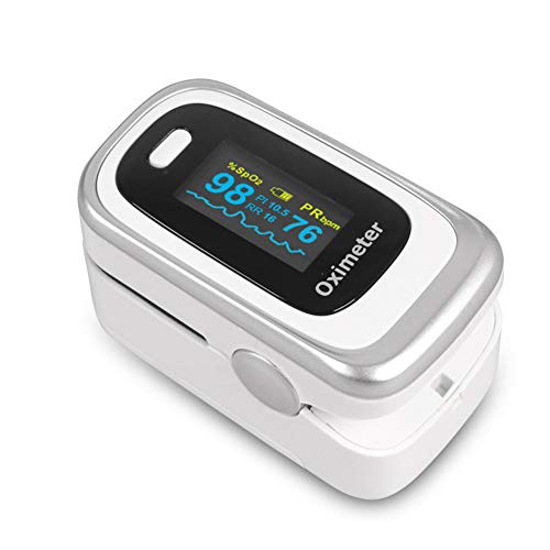 SXFYMWY Oximeter mit Schlafüberwachung Speicher- und Atemfrequenzüberwachungsfunktion Tragbare Finger-Pulsoximeter,silverwhite,62x32x33mm