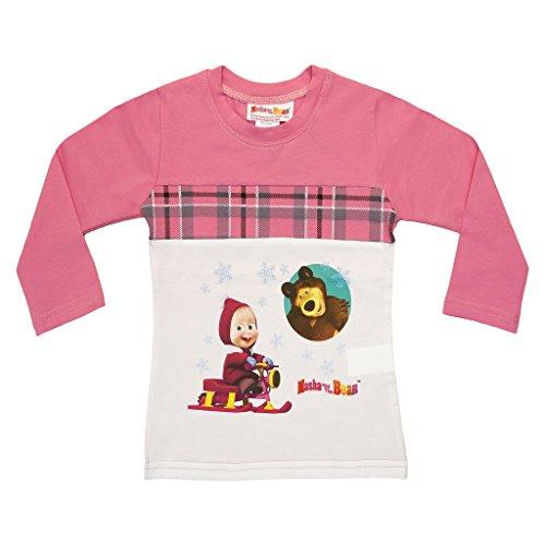 Mädchen Langarm-Shirt Mascha und der Bär, Oberteil in GRÖSSE 92, 98, 104, 110, 116, 122 Longsleeve T-Shirt Pulli, 100% Baumwolle Masha and The Bear Farbe Modell 7, Größe 110 -