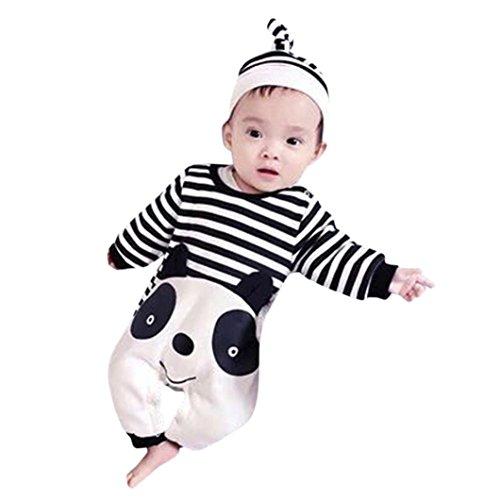 Baby-Mädchen Jungen Schlaftrampler Nitnightsuit Longra Neugeborene Baby Streifen Panda Lange Ärmel Body Overalls Jumpsuit Unisex Baby Strampler mit Hut (80CM 12Monate, Black) (Stricken Spieler Hut)