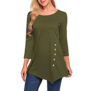 Ladies Tops,DSUK Women's 3/4 Sleeves Crew Collar Simple Solid Pure Color Wide Hem Lightweight Beauty Mature Attractive Nice Cozy Elegantly Super Soft Tops Sweatshirts for Business Army Green M