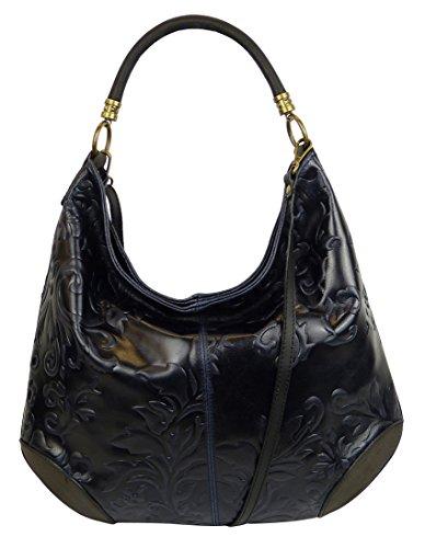 25267e8d2bdba Damen Leder Tasche Henkeltasche Schultertasche mit Kroko Schlangen oder  Blumen Prägung Dunkelblau-Blumen
