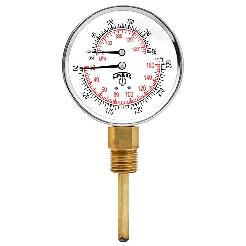 Winters TTD Series Steel Dual Scale Tridicator Thermometer with 2 Stem, 0-250psi/kpa, 3 Dial Display, 3-2-3% Accuracy, 1/2 NPT Bottom Mount, 70-320 Deg F/C by Winters