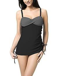 Gwinner Damen Badeoutfit Tankini Badeanzug zweiteilig mit verstellbaren Trägern, aus hochwertigem Material made in EU, resistent gegen Chlor und UV Raisa