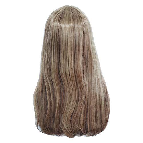 (Xmansky Perücke,Natürliche Mischung färbt Steigungs-lange gelockte synthetische Perücke reizvolle Dame-Mode-Perücken wig,Anzug für Karneval/Maskerade)