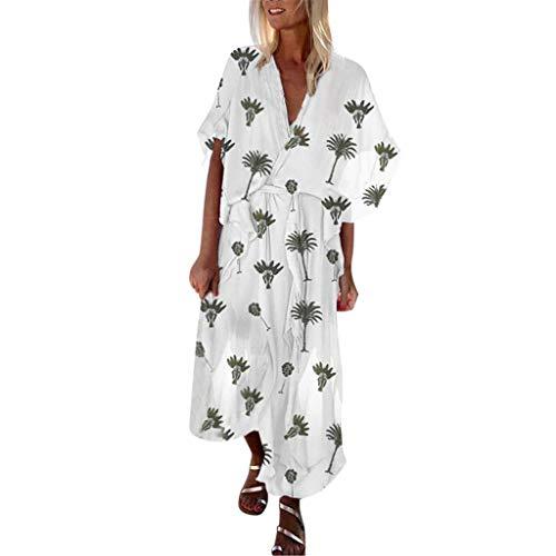 RYTEJFES Leinenkleider Damen Sommerkleider Lose Casual Strandkleider Bowknot Taille Maxikleid Böhmischer Flare Sleeve Chiffonrock Freizeitkleid