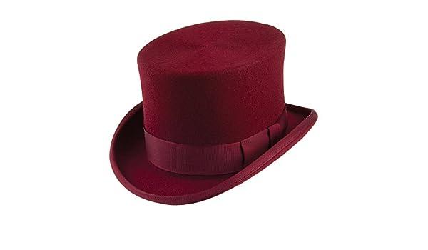 31a4045ecb6 Denton Hats Wool Felt Top Hat - Maroon LARGE: Amazon.co.uk: Clothing