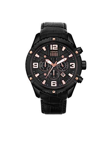 Orologio Cerruti 1881 Laponte, da uomo, cronografo, in pelle nera, CRA20103