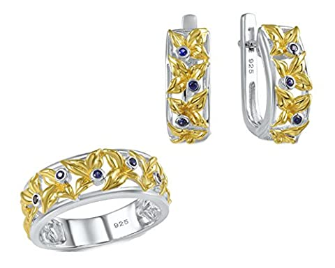 SaySure - Jewelry Set Sapphire Yellow Gold Plated Earrings (SIZE : 6)
