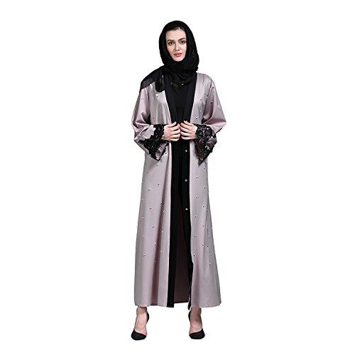 Dreamskull Damen Frauen Muslim Abaya Dubai Kleid Muslimische Islamische Arab Arabische Indien Türkische Kleider Kleidung Abendkleider Elegant Mantel Kaftan Robe Bluse Lang Gebet Sommer Casual (M)