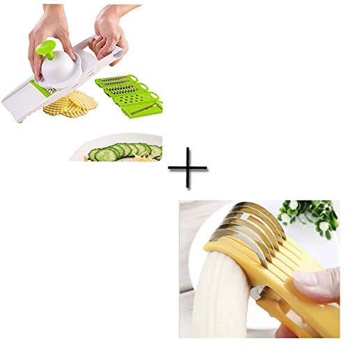 Liu Sensen Máquina De Cortar Multiuso 5 Tipos De Hojas Frutas Verduras Rallador Banana Rebanadas Jamón Salchicha Rebanadas Patatas Pepino Rebanadas Zanahorias Ayudante De Cocina