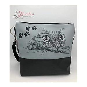Handtasche Katze Pfoten Schultertasche/Umhängetasche *bestickt