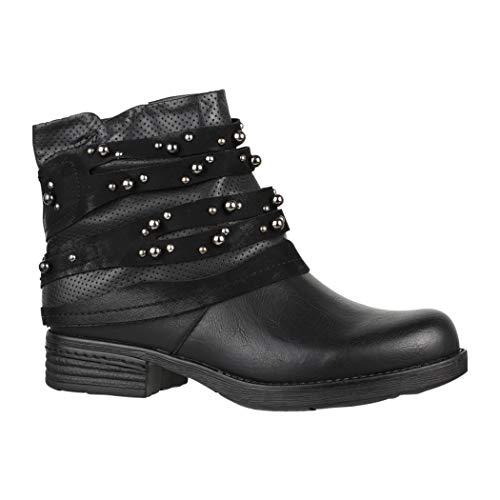 Elara Damen Stiefelette | Bequeme Biker Boots | Metallic Lederoptik | Chunkyrayan F2319 Black-40