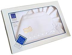 Idea Regalo - set lenzuolino 3 pz lettino da ricamare con inserti in san gallo (bianco)