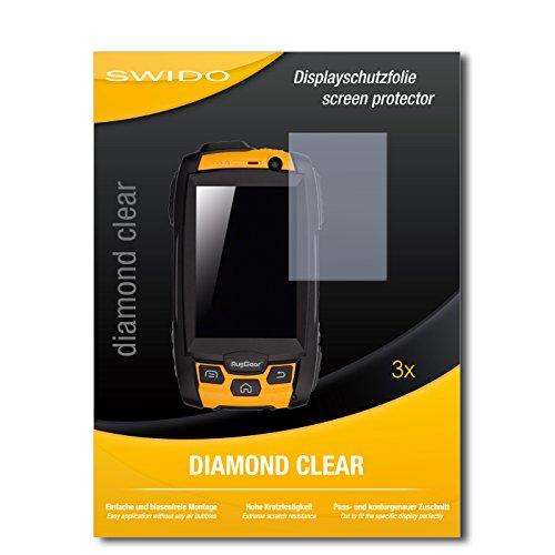 SWIDO 3 x Schutzfolie RugGear RG500 Bildschirmschutz Folie DiamondClear unsichtbar
