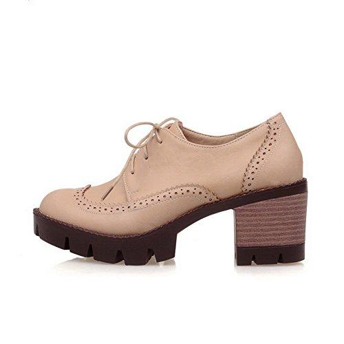 AllhqFashion Damen Rein Pu Leder Mittler Absatz Schnüren Pumps Schuhe Cremefarben
