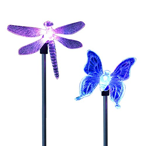 CISTWIN Packung mit 2 Farbwechsel Optik LED Solar Powered Libelle Schmetterling Garten Pathway Stake Lichter Laternen für Rasen Hof Patio Outdoor CIS-57254-PACK2DB