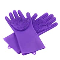 Wmaple Magic Silicone Gloves-Cleaning Gloves for Cleaning, Household, Dishwashing, Washing The Car, Pet Hair Care Purple 35*16cm