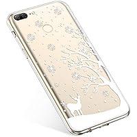 Uposao Handyhülle Huawei Honor 9 Lite Silikonhülle Christmas Durchsichtig Weiche Silikon TPU Handytasche Transparent Ultra Dünn Kristall Klar Crystal TPU Bumper Backcover,Hirsch Baum