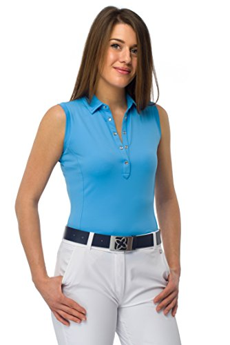 SIBILLA Damen Golfshirt ärmellos aus technischem Jerseystoff mit Strass Knöpfen (S, bonnie blue) (Stoffen Blue Bonnie)