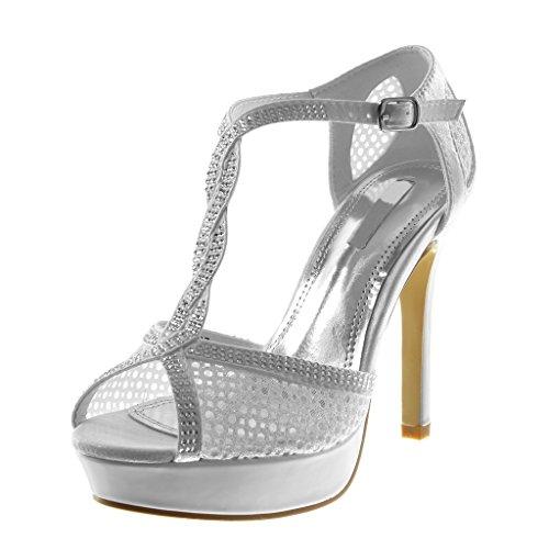 Chaussures Angkorly Sandales Mode Décollete Avec Talon Aiguille Strap Femme Résille Strass Brillant Stiletto Talon Haut 11,5 Cm Blanc