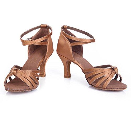 HROYL Damen Tanzschuhe/Latin Dance Schuhe Satin Ballsaal Modell-D7-217 7CM Beige