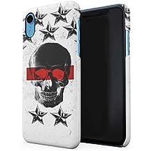 Black Dead Man Skull & Noir Stars Pattern Coque De Protection Fine en Plastique Housse Etui Rigide pour iPhone XR Slim fit Case Cover