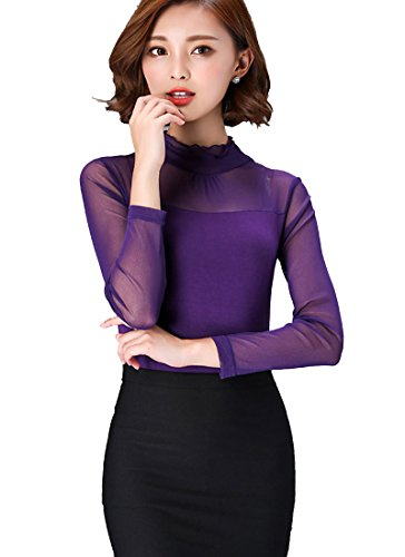 ONECHANCE Frauen Langarm Stretchy Mesh Lace Sheer Bluse Tee Tops Purple