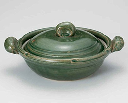 Oribe for 4-5 persons 31cm Donabe Japanese Hot pot Green Ceramic Made in Japan