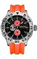 Nautica A15565G - Reloj analógico de cuarzo para hombre, correa de silicona color naranja de Nautica