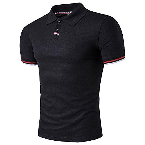 BicRad Herren Shirt Polo Kurzarmshirt Slim Polohemden Baumwolle, Schwarz, Gr. L