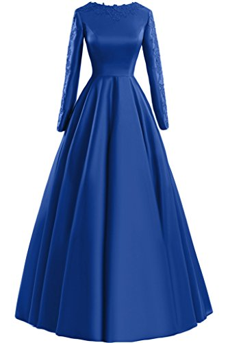 Sunvary pizzo A-line Scoop maniche lunghe, con scritta: Evening Dresses Party Gowns Royal Blue