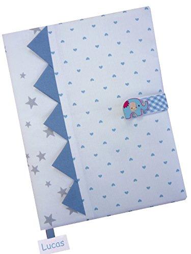 Cadeau de Naissance - Protège-Carnet de Santé personnalisé - (eléphant bleu)