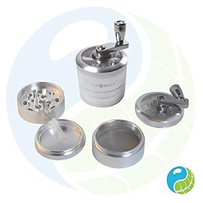Vapowelt High Value Premium Aluminium Pollen Grinder Crusher for Dry Herbs 4 parts 4 teilig Ø 50 mm mit Kurbel *Silber* von Vapowelt