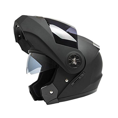 MHSXN Motorradhelme Unisex Doppelobjektiv Sommer Bluetooth Offroad Racing Atmungsaktiver Schutzhelm,Black-M=55-57cm