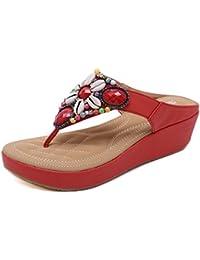 Damen Sommer Sandalen Plateau Flip Flops Bohemia Keilabsatz Clip Toe Sandaletten  Schuhe mit Perlen 3e9892ad80