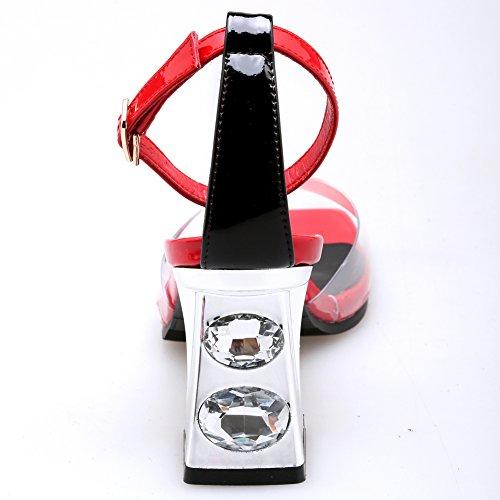Damen Open Square Toe Transparent Blockabsatz Knöchelriemchen Kuhleder Rot