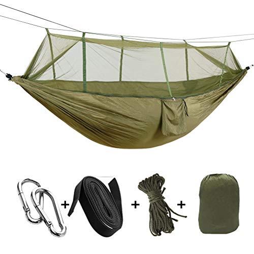 LUYION Camping Hängematte mit Moskitonetz Atmungsaktiv Schnell trocknend Fallschirm Nylon 200 kg Tragfähigkeit 2-Personen-Reisebett,Bronze