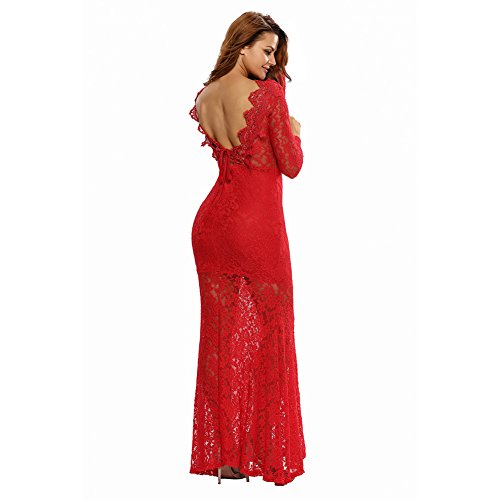 PU&PU Femmes Going out / Party / Cocktail Club Robe maxi dentelle, col rond manches longues Open Back red